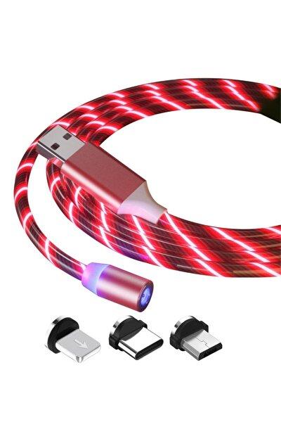 Manyetik Mıknatıslı Hareketli Işıklı 3 Uçlu Kırmızı Renkli Kablo