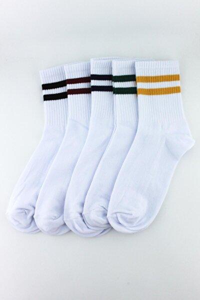 5'li Paket Farklı Çizgilerde Beyaz Yarım Konç Erkek - Kadın Çorap