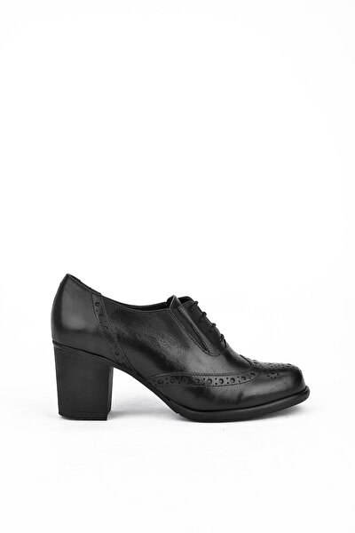 Kadın Siyah Deri Ayakkabı 10319 4019