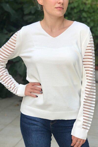 Kadın Beyaz V Yaka Transparan Kol Çizgi Detaylı İnce Triko Bluz