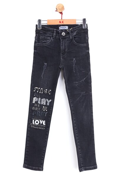 Kız Çocuk Siyah Play Taşlı Jean Pantolon