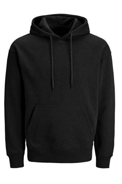 Unisex Siyah Kapüşonlu Sweatshirt