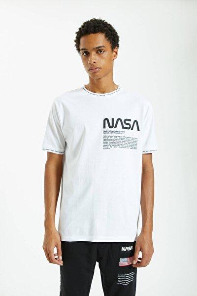 Erkek Beyaz Sloganlı Fitilli Nasa T-Shirt 09244943