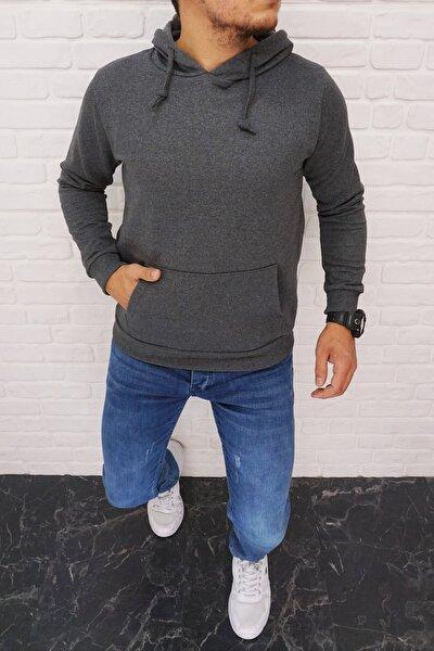 Erkek Antrasit Kapüşonlu Kanguru Cepli Kışlık Sweatshirt  6623