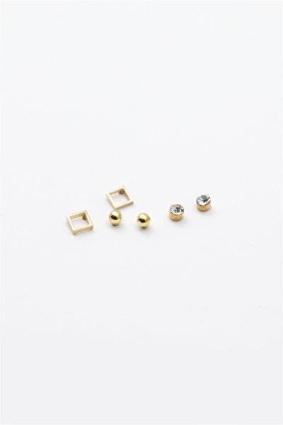 Kare Figürlü Zirkon Taşlı Çoklu Küpe Gold Renk