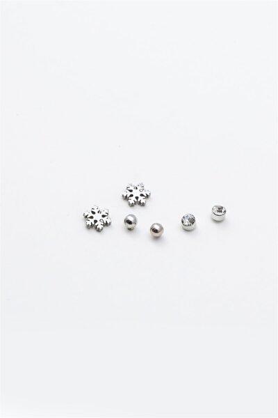 Kar Tanesi Figürlü Zirkon Taşlı Çoklu Küpe 077 Silver Renk