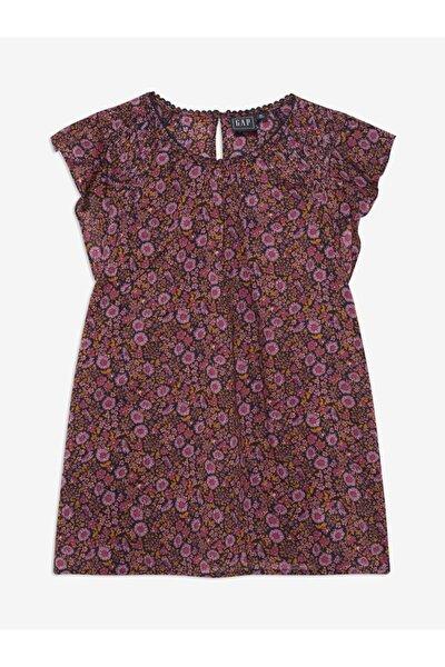 Kadın Pembe Çiçek Desenli Bluz