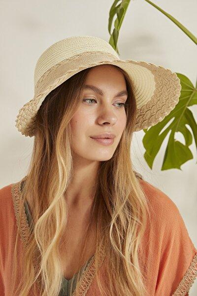 Kadın Ekru Bej Hasır Şapka Y2730-61