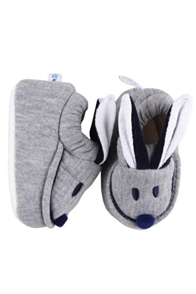 Unisex Bebek Gri Tavşan Patik Babycapa