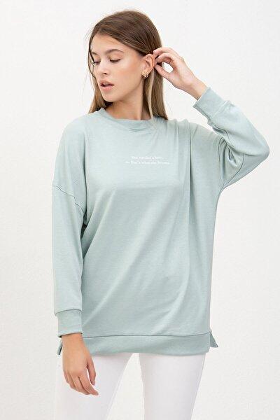 Kadın Mint Yazı Baskılı Sweatshirt