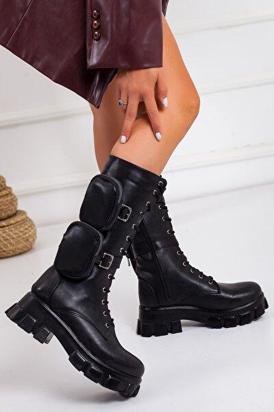 Kadın Siyah 2 Cep Detaylı Fermuarlı Çizme