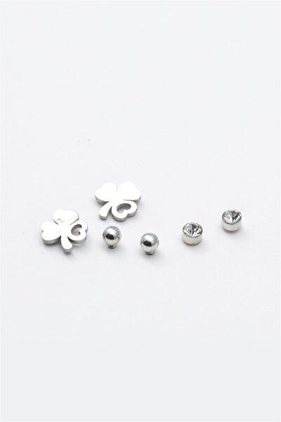 Silver Renk Yonca Figürlü Zirkon Taşlı Çoklu Küpe 061