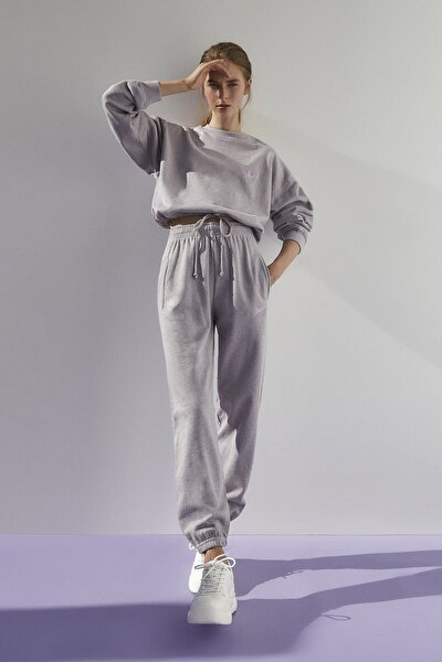 Kadın Melanj Leylak Stwd İşlemeli Jogging Fit Pantolon 09678348