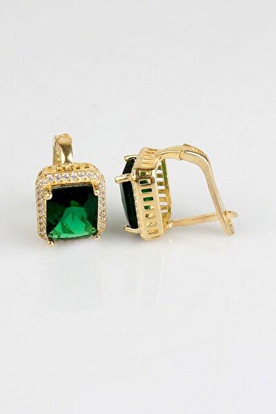 925 Ayar Gümüş Yeşil Dikdörtgen Taşlı Kadın Küpe