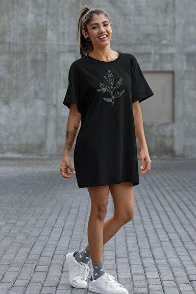 Kadın Siyah Baskılı T-shirt Elbise