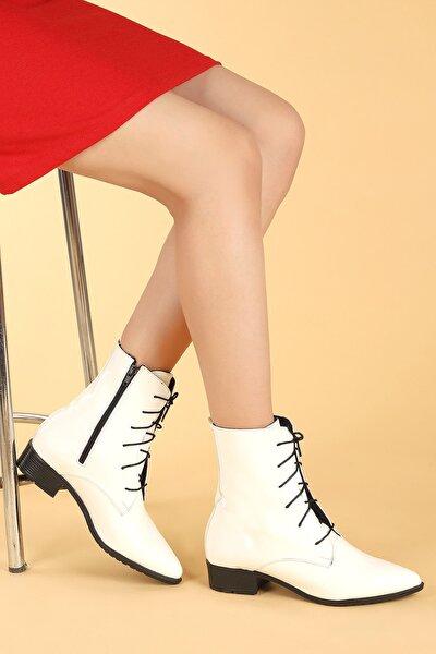007-01 Rugan Bağcıklı Termo Taban Bayan Bot Ayakkabı