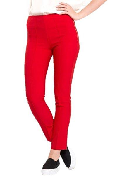 Kadın Kırmızı Yandan Fermuarlı Slim Fit Pantolon