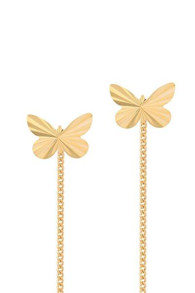 Kadın Altın 14 Ayar  Sallantılı Kelebek Küpe Gln300019