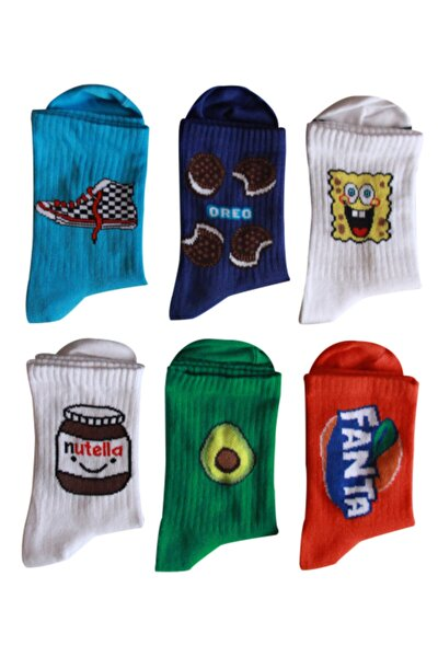 Unisex Renkli Kolej Çorabı 6 Çift