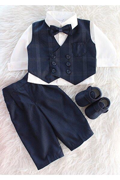 Erkek Bebek Lacivert Beyaz Yelekli Düğme Detaylı Takım Elbise