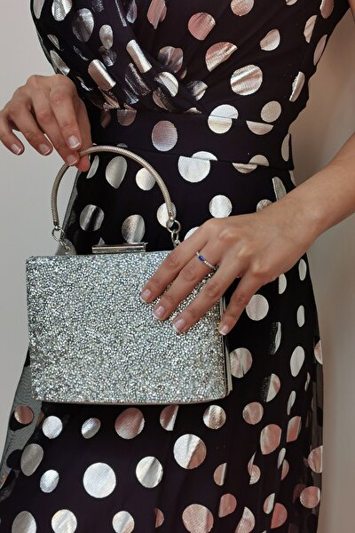 Kadın Silver Taşlı Gümüş Abiye Çanta