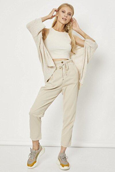 Kadın Taş Yüksek Bel Gabardin Pantolon -