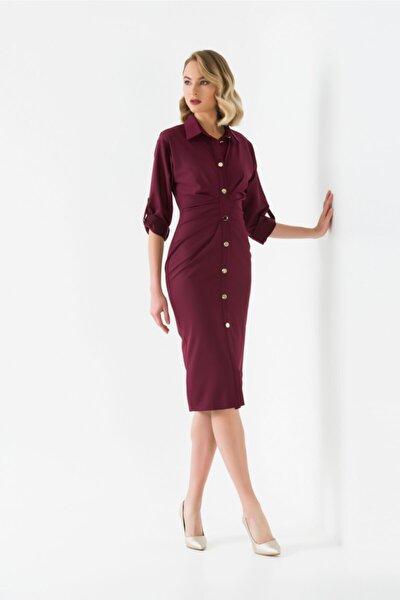 Önü Büzgülü Düğmeli Elbise