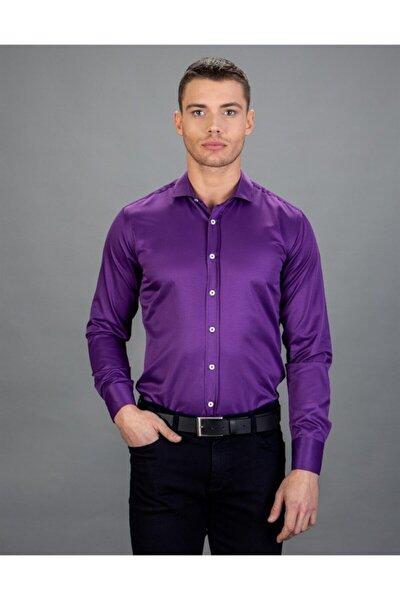 Slim Fit Düz Mor Erkek Gömlek