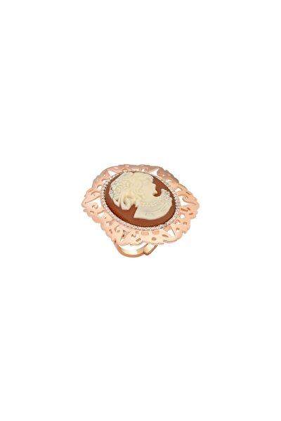 Sentetik Cameo Rose Gold Gümüş Yüzük