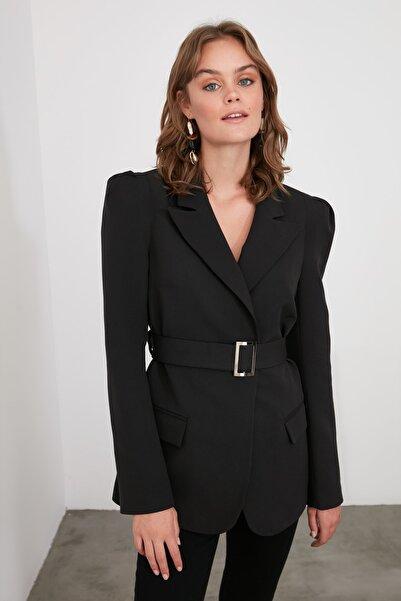 Siyah Beli Kemerli Blazer Ceket TWOSS20CE0052