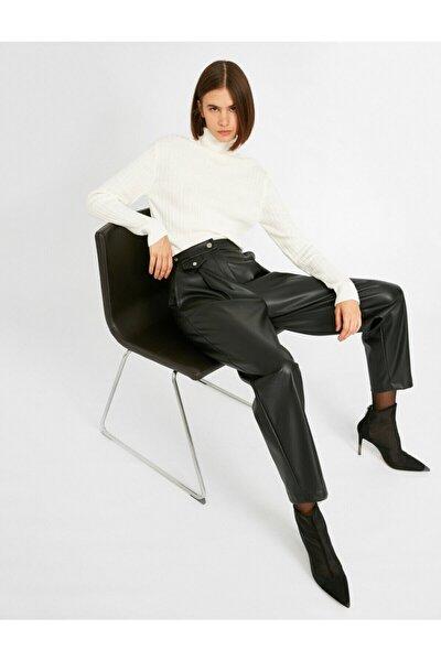 Kadın Siyah Deri Görünümlü Cepli Pantolon