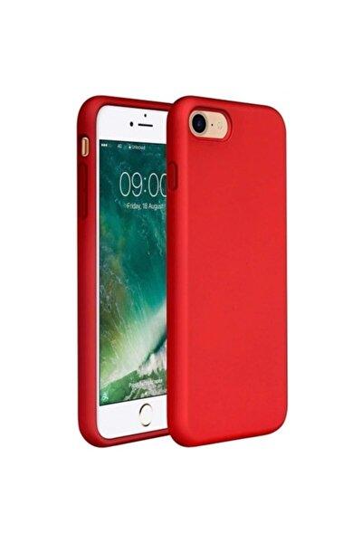Apple iPhone 7 - 8 - SE 2020 İçi Kadife Lansman Silikon Kılıf Kırmızı