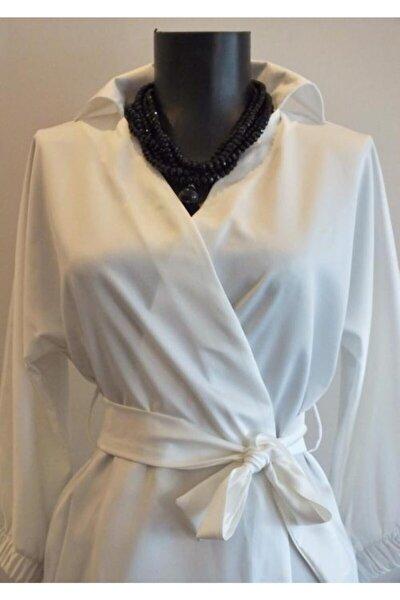 Kadın Beyaz Saten Gömlek