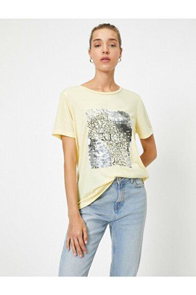 Kadın Sarı Bisiklet Yaka Kısa Kollu Payetli T-Shirt