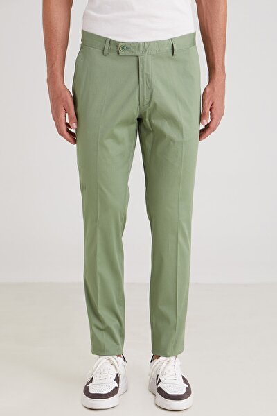 Yeşil Düz Ribana Örgü Erkek Pantolon - Slım Fıt