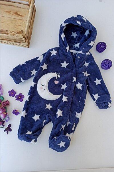 Unisex Bebek Lacivert Ay Desenli Kapşonlu Welsoft Kışlık Tulum