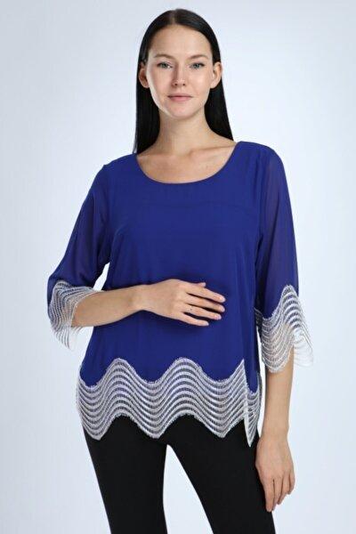 Kadın Saks Mavisi Beyaz Güpürlü  Bluz