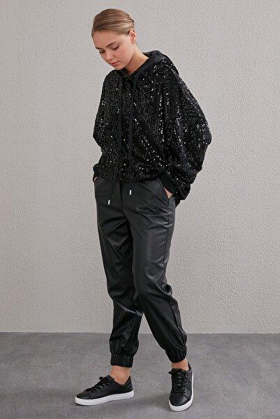 Kadın Beli Lastikli Spor Kesim Deri Pantolon Siyah A20 19115