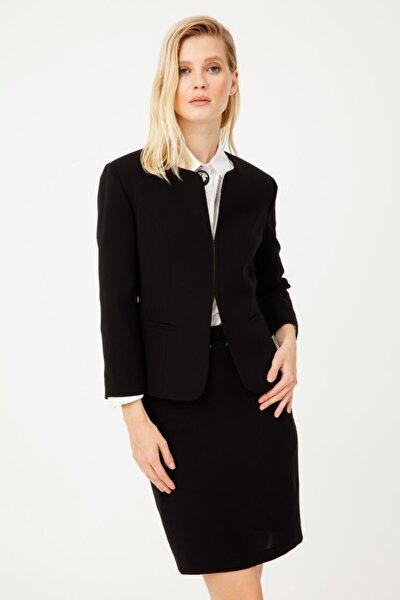 Kadın Siyah  Oval Yaka Ceket