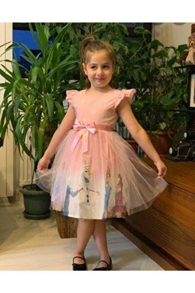 Kız Çocuk Pembe Elsa Karlar Ülkesi  Elbise