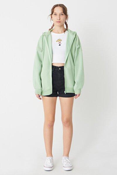 Kadın Mint Kapşonlu Sweatshirt H0725 - İ7 - İ8 ADX-0000020316