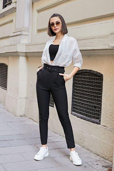 Kadın Siyah Yüksek Bel Kemerli Pantolon