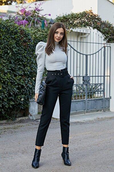 Kadın Siyah Kemerli Yüksek Bel Cigarette Pantolon