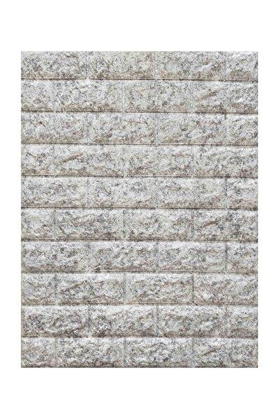 Nw16 Kendinden Yapışkanlı Çift Renk Gri Beyaz Esnek Tuğla Sünger Duvar Paneli 70x77 Cm 6 Adet