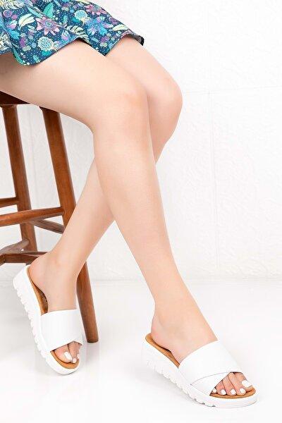 Kadın Beyaz Ortopedik Taban Terlik 40 Adn.115