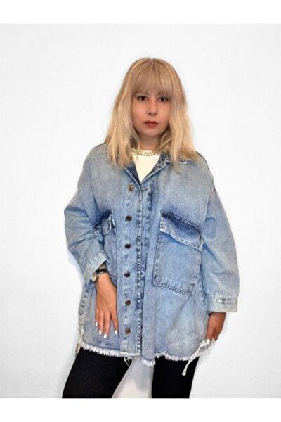 Kadın Açık Mavi Oversize Kot Ceket