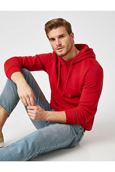 Erkek Kırmızı Kapüsonlu Uzun Kollu Sweatshirt