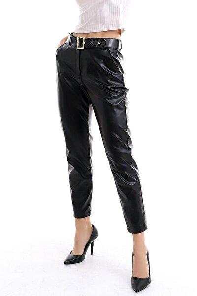 Kadın Siyah İçi Pamuk Deri Pantolon