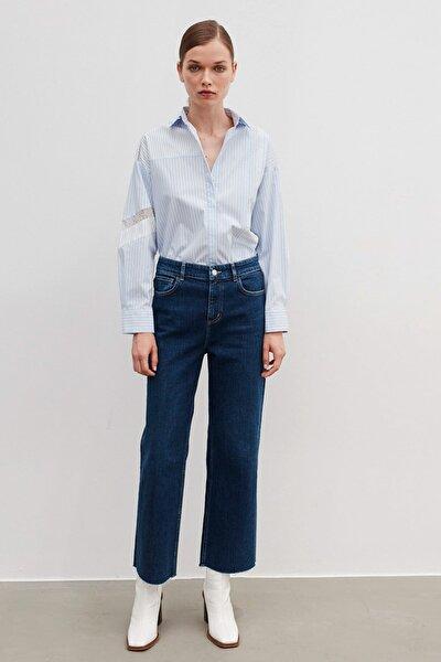 Kadın Mavi Cropped Straight Fit Jean Pantolon