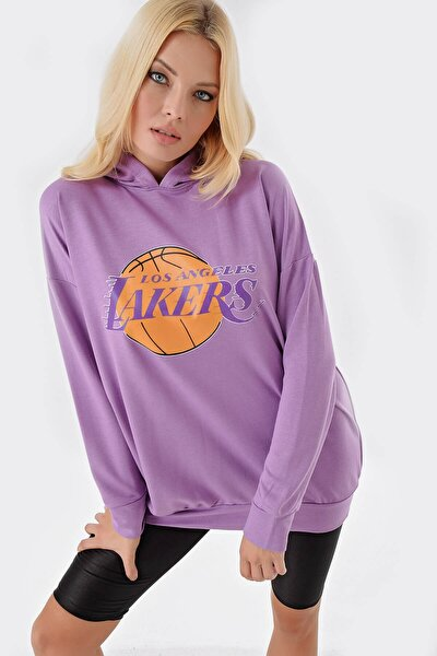 Lila Lakers Kapişonlu Sweat